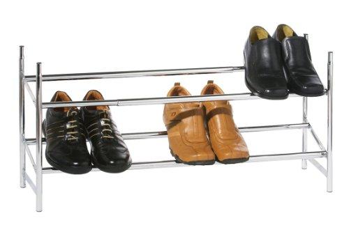 premier-housewares-two-tier-extendable-shoe-rack-silver