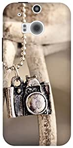 The Racoon Lean locket camera hard plastic printed back case for HTC One (M8)