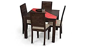 Urban Ladder Arabia Square Oribi Four Seater Solid Wood Dining Table Set Mahogany Finish