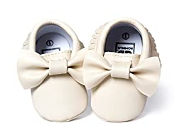 DESDEMONA Bow Leather Baby Moccasins for Boy Girl Infant Toddler Pre-walker Crib Shoes (XS(4.5inches), Beige)