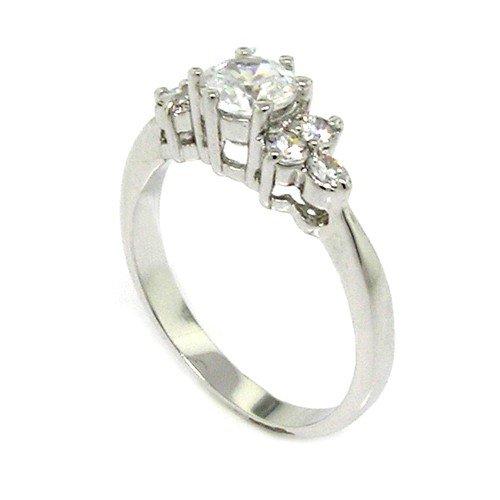 Classic Promise Ring w/Round Brilliant White CZ, 5