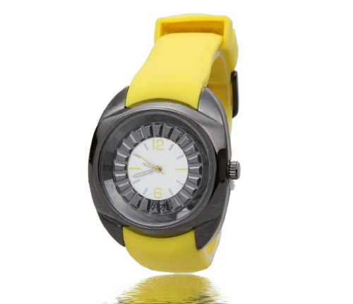 Silicon Sport Watch, Analogic Quartz Movement With Silicon Rubber Band - Adult Size - Yellow