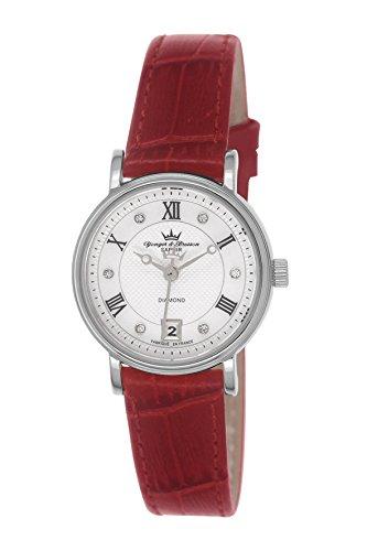 Yonger & Bresson DCC 1689/22 - Orologio da polso donna, pelle, colore: rosso