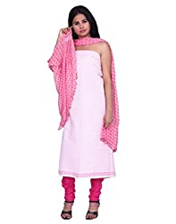 Chhipaprints 100% cotton White & Pink salwar suit dupptta material