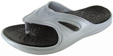 Dawgs Womens 'Original Flip Flops' Sandal Shoe, Grey/Black, US 11