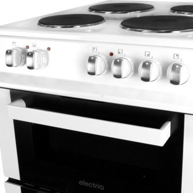 ElectriQ 50cm Electric Twin Cavity Cooker With Solid Hotplate - White