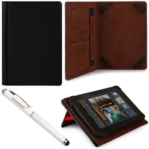 Black Vg Faux Leather Standing Portfolio Case Cover For Toshiba Excite Write / Toshiba Excite Pro / Toshiba Excite Pure 10.1 Inch Android Tablets + Vg Executive Stylus Pen With Integrated Laser Pointer And Led Reading Light front-995038