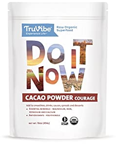 TruVibe 100% Organic Raw Cacao Powder, Fair Trade, 1lb (16oz), Criollo Cacao Variety