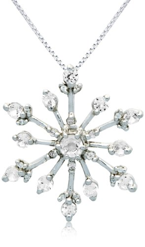 Sterling Silver Round Shaped Created White Sapphire and Cubic Zirconia Snowflake Pendant Necklace , 18