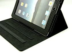 Pyrus Electronics (Trademark) Faux Leather Multi Position Case for iPad 2 (latest Generation) - Black Strap