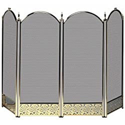 Uniflame S-2115 4 Fold Polished Brass Fireplace Screen With Decorative Filigree from UniFlame