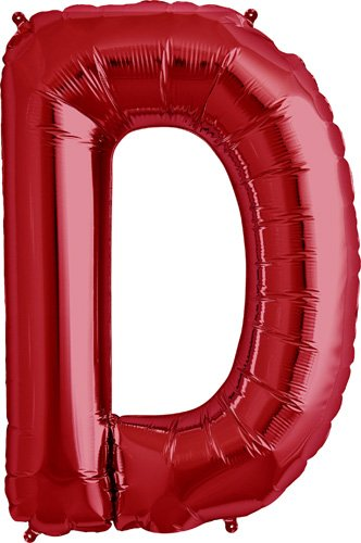 Letter D - Red Helium Foil Balloon - 34 inch