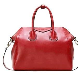 Fineplus Women's Vintage Hobo Smile Leather Shoulder Strap Tote Bag Large Wine-red