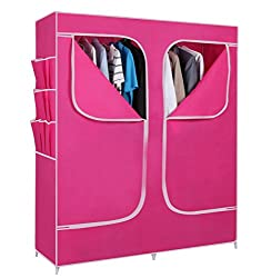 Everything Imported 5 feet (pink) Folding Wardrobe Cupboard Almirah Foldable Storage Rack Collapsible Cabinet