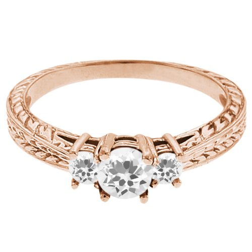 0.59 Ct Round White Topaz Sapphire 14K Rose Gold 3-Stone Ring