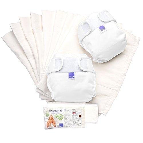 Bambino Mio Miosoft 2 Piece Prefold Diaper Set, White, Size 1