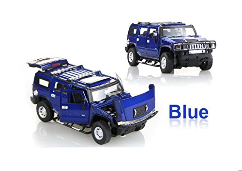 Tourwin Toy car 1:24 Hummer H2 simulation Blue Glider Car Model Collection Decoration Alloy children's toys 4 doors can open