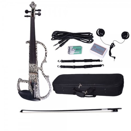 Dsg-1305 4/4 Zebra Design Basswood Electric Violin With Rosin Bow Case Headphone And Line-2Pack