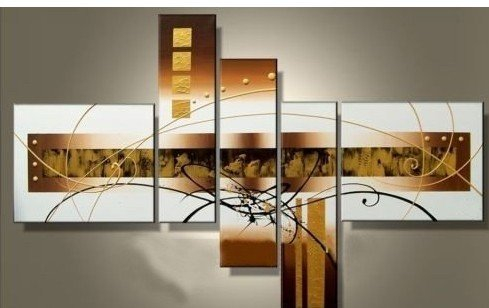 100% Hand-painted Free Shipping Wood Framed Golden Clouds Home Decoration Modern Abstract Oil Painting on Canvas 5pcs/set Mixorde