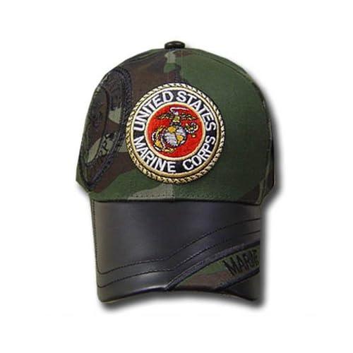 UNITED STATES MARINE SEAL GREEN CAMOUFLAGE CAP HAT ADJ