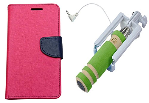 Uni Mobile Care Flip Cover For Samsung Galaxy S3 I9300 - Pink + Mini Pocket Selfie Stick With Aux Cable For Mobile...