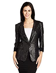 Replay Women's Blazer (W7123 .000.70990_Medium Black/Grey_X-Small)