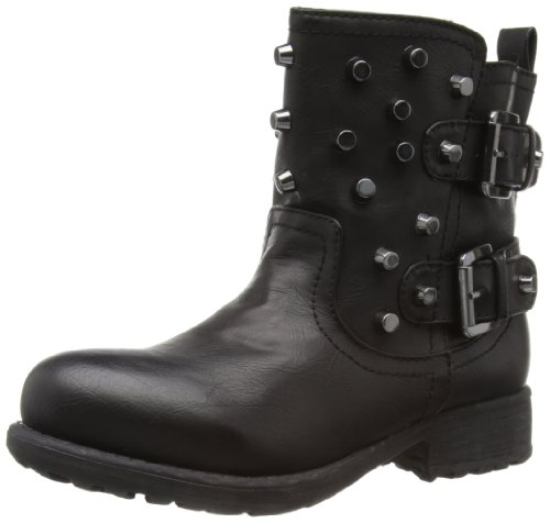 London Rebel Womens Stud Biker Boots Black 3 UK, 36 EU