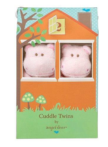 Angel Dear Cuddle Twin Set, Pink Hippo