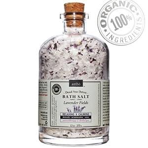 Organic Bath Salt - Dead Sea Aromatherapy Detox - Relaxing Lavender 13oz from Antho Organic