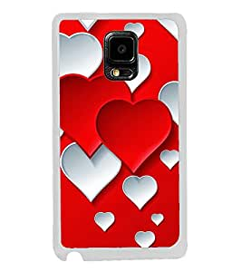 Red White Hearts 2D Hard Polycarbonate Designer Back Case Cover for Samsung Galaxy Note 4 :: Samsung Galaxy Note 4 N910G :: Samsung Galaxy Note 4 N910F N910K/N910L/N910S N910C N910FD N910FQ N910H N910G N910U N910W8