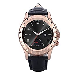 Smart Watch, TUFEN® Men Bluetooth Notifier Smartwatch HD Touch Screen Wrist Watches Support Heart Rate Monitor, Pedometer and Camera for Android IOS Phone - Rose Gold with Black Leather Watch Band