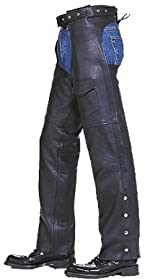 "Mens & Womens Motorcycle Cowhide Leather Biker Riding Chaps Pants Unisex (Thigh Measurement 31"" = 8XL)"