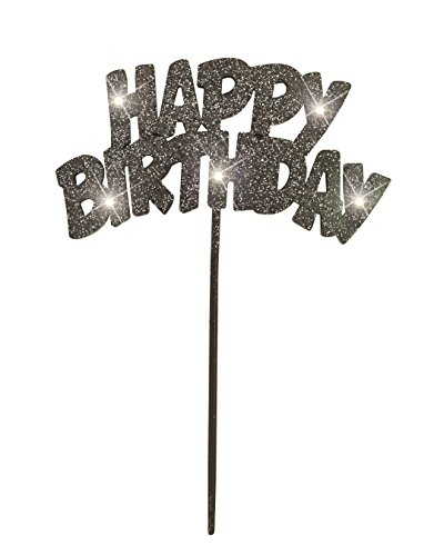 Unique Flashing Happy Birthday Cake Topper Decoration, Black