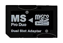 SANOXY® Dual MicroSD to MS PRO DUO Adapter (Black) for Sony PSP, Converts Two MicroSD or MicroSDHC Cards to one Memory Stick Pro Duo Card (Bulk Packaged)