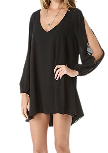 DELEY Donne Allentato Chiffon Camicetta T-shirt Summer Vestiti Beach Vestitino Tunica Top Nero S