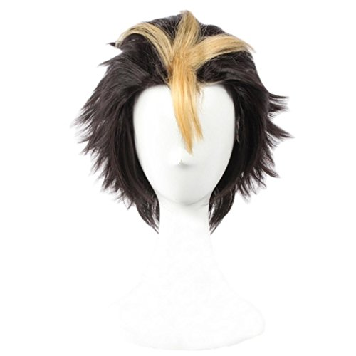 Ainiel Men's Fiber Layered Two Tone Cosplay Costume Party Wig Short Yellow Black