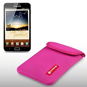 SAMSUNG GALAXY NOTE NEOPRENE CARRY CASE WITH SHOCKSOCK LOGO BY CELLAPOD CASES HOT PINK