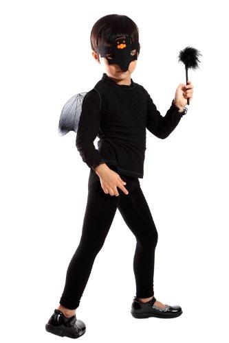 3 teiliges Fledermaus Set mit Flügeln, einer Maske und dem Stab. Fledermaus Kostüm für Halloween Einheitsgröße ab 92 bis 146, EL01