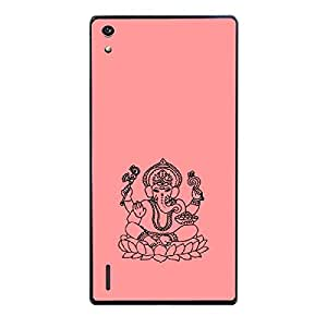 Skin4gadgets Lord Ganesha - Line Sketch on English Pastel Color-Peach Phone Skin for HONOR P7
