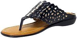 Craze Shop Womens Black Artificial Leather Flats - 7 UK