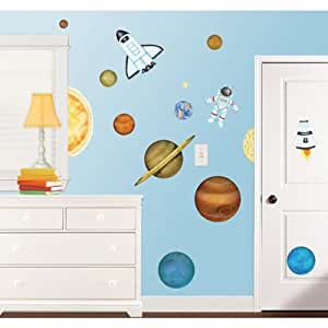 amazon com outer space large wall decals stickers home kids wall decals outer space removable wall by pinknbluebaby