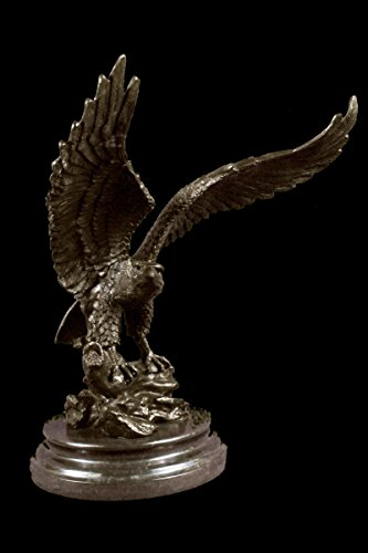 "Collectible Bronze Sculpture Statue Animal Life Size Hawk American Bald Eagle Ar... 16""X13"" 20 Lbs. Real Bronze."