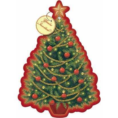 Twinkle Tree Embellished Postcard Invitations 8ct