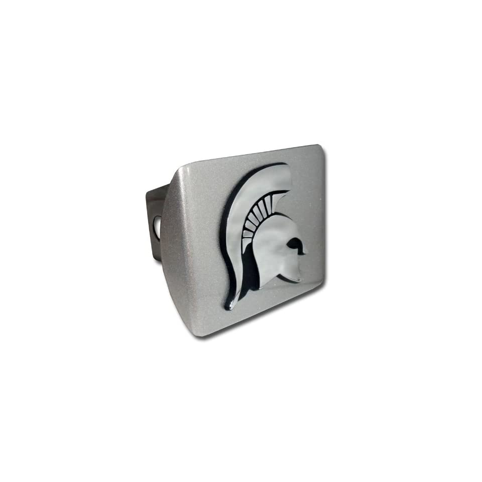 Michigan State University Spartans Brushed Silver with Chrome Spartan Head Emblem NCAA College Sports Metal Trailer Hitch Cover Fits 2 Inch Auto Car Truck Receiver
