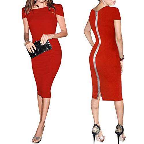 JudyBridal Women Sexy Bodycon Midi Bandage Party Club Dresses US16 Red
