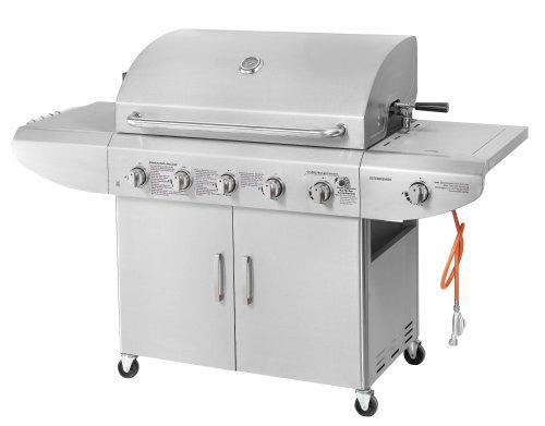 Deluxe 5 Burner Plus 1 Side Burner Gas BBQ Barbecue Stainless Steel with Regulator Rotisserie Grill Hot Plate Warm Racking and Waterproof Cover FULLY LOADED