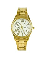 PHQ Classy American Golden Analogue White Dial Men's Watch - CLS 017