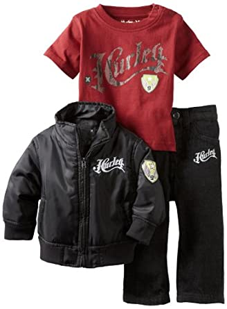 Hurley Baby-boys Infant Jacket Tee Pant Set, Black, 24 Months