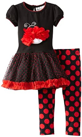 (2.9折)Rare Editions Dot Tutu Leg Black/Red 女童连衣裙$16.4,