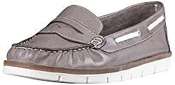 Palma Moda Womens Dark Gray Leather Loafers - 3 Uk